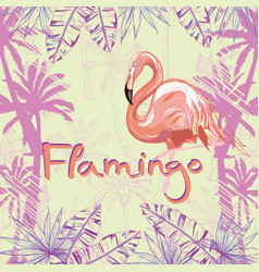 Pink flamingo isolated on green background vector