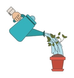 Plant inside pot and watering can design vector image