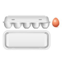 plastic white packaging for eggs side view and vector image
