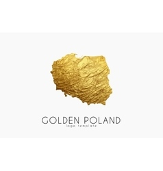 Poland map Golden Poland logo Creative Poland vector image