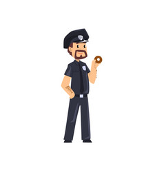 Police officer standing with donut policeman vector