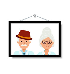 portrait grandparents in close-up happy old vector image