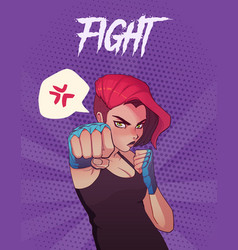 Poster card or t-shirt print with angry boxing vector