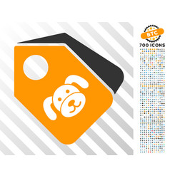 Puppy tags flat icon with bonus vector