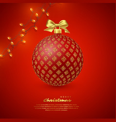 realistic christmas red bauble vector image