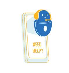 Robot help user cute friendly ai chatbot customer vector