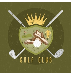 Royal golf club grunge coat of arms design vector