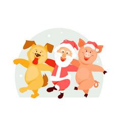 santa claus dog and pig vector image