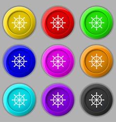 Ship steering wheel icon sign symbol on nine round vector