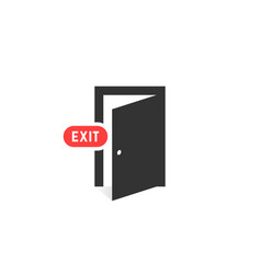 Simple black exit door icon on white background vector