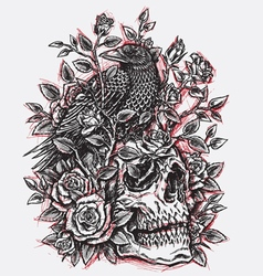 Sketchy Crow Roses and Skull Tattoo Design Linewo vector