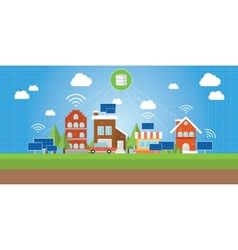 smart city with connected concept vector image