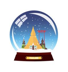 Snow globe city thailand in globe winter vector