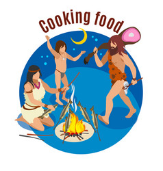 Stone age cooking concept vector