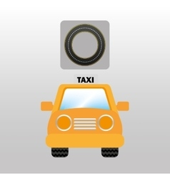 Taxi car front circle road way design vector