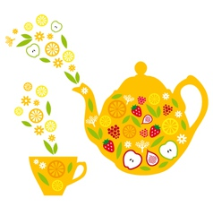 Tea pot and cup with fruits vector