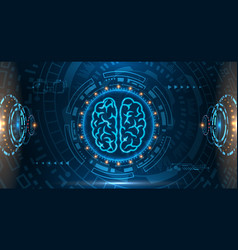 technology science concept brain mind hud vector image