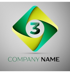 Three number colorful logo in the rhombus template vector