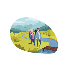 travelling couple tourism nature hiking concept vector image
