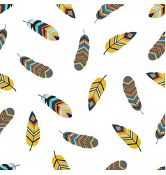 tribal pattern with feathers vector image