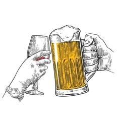 Two hands clink a glass of beer and wine vector