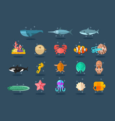 Underwater animals set lea life vector