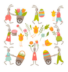 Vintage elements set of easter theme vector