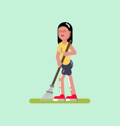 Voluntire female clean up the garden vector