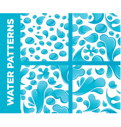 water drops and splashes seamless patterns vector image