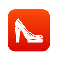 women shoes on platform icon digital red vector image