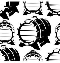 wooden barrels in retro style seamless background vector image