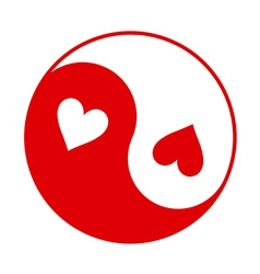 Yin-Yang symbol with hearts instead of dots vector