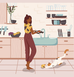 young woman standing near sink and washing dishes vector image