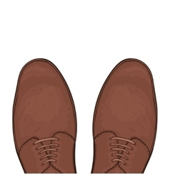 Feet in male shoes on the road vector image