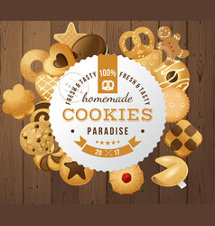 homemade cookies round label vector image vector image