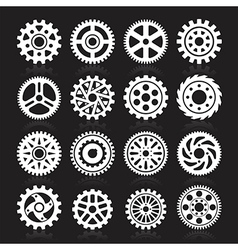Set of gear icons on black background vector image vector image