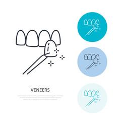 veneers line icon dental care equipment sign vector image