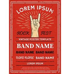 Vintage Rock festival poster flyer vector image vector image