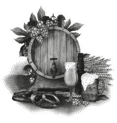 Beer design in stippling technique vector