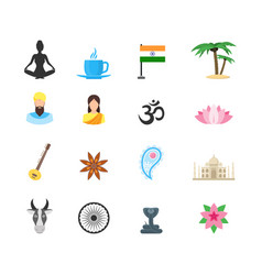 Cartoon symbol of india color icons set vector