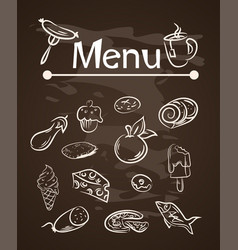 food menu elements on chalk board set vector image