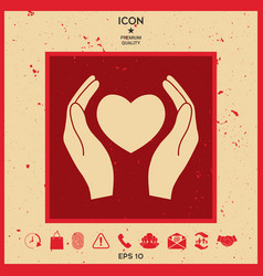 hands holding heart symbol vector image