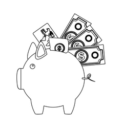 monochrome contour with moneybox in shape of pig vector image vector image