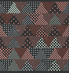 retro triangles seamless pattern with cloth effect vector image