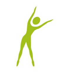 silhouette woman stretching side right vector image