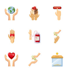 world donor day icons set cartoon style vector image vector image