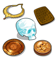 ancient objects and glass human skull vector image vector image