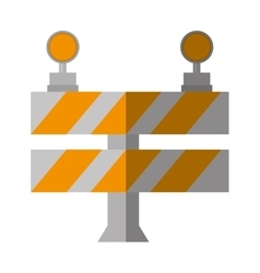 Cartoon road barrier stop warning light vector