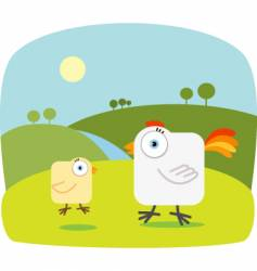 chicken with big eye vector image vector image