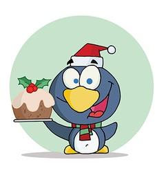 Christmas Penguin Holding Christmas Pudding vector image vector image
